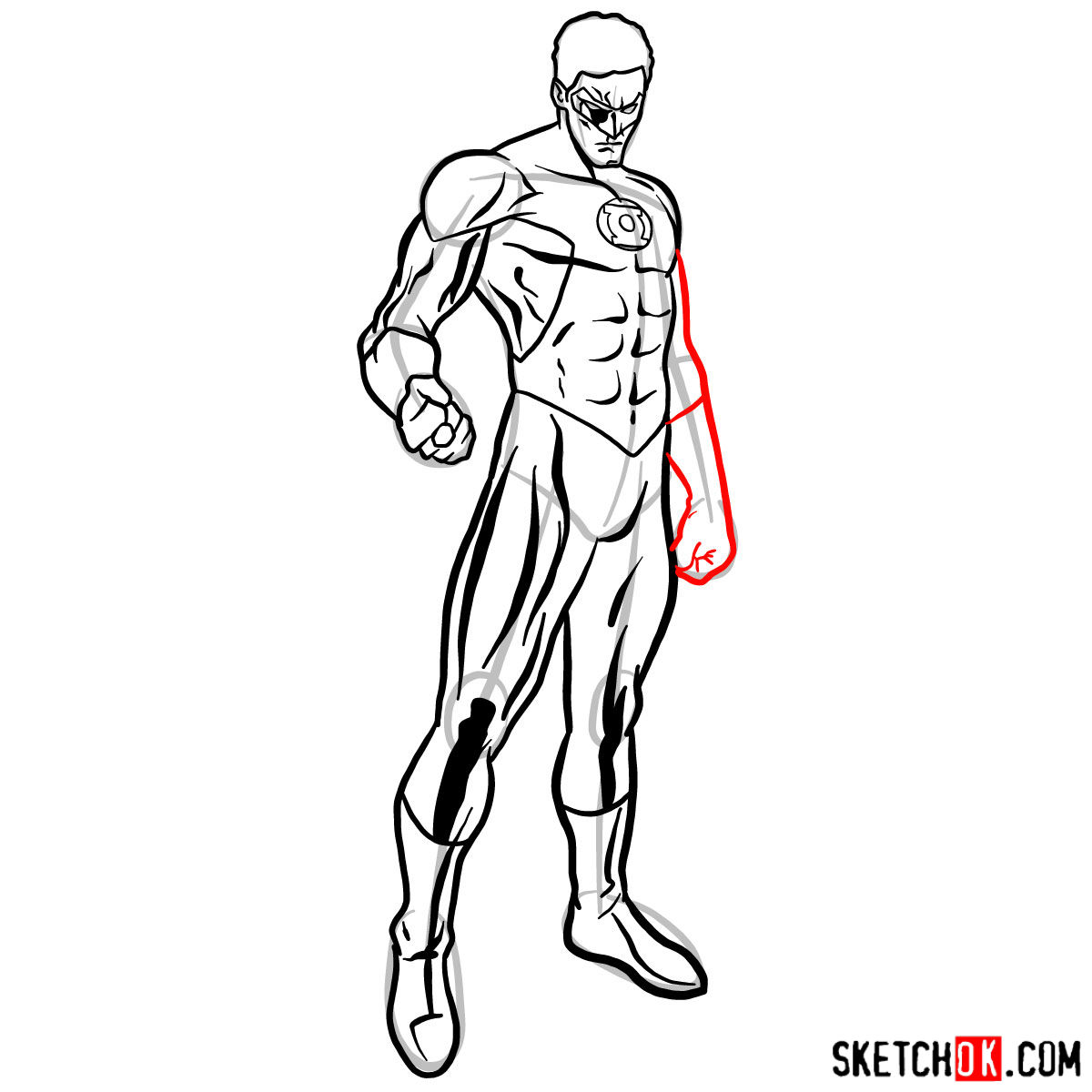How to draw Hal Jordan as Green Lantern - step 10