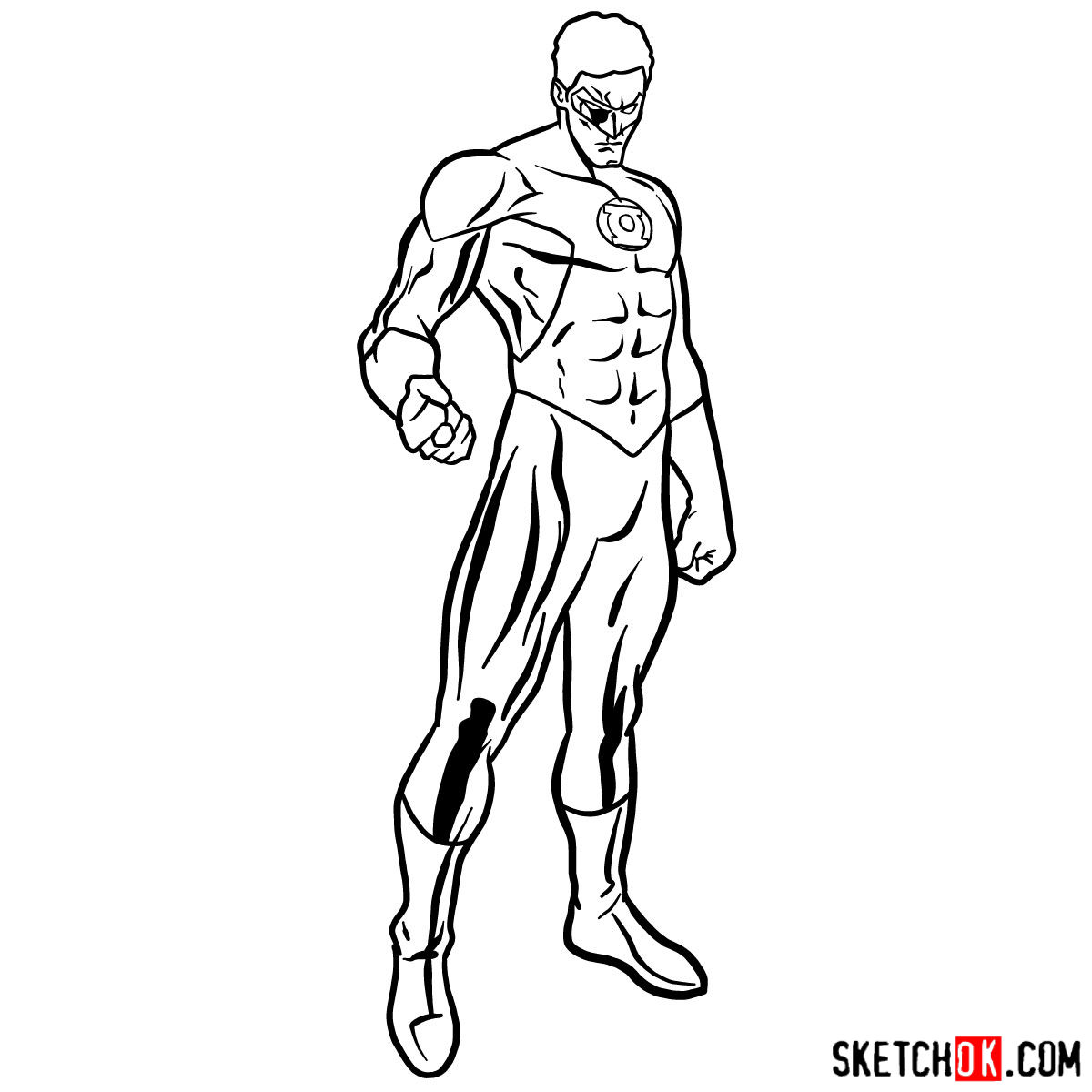 How to draw Hal Jordan as Green Lantern - step 11