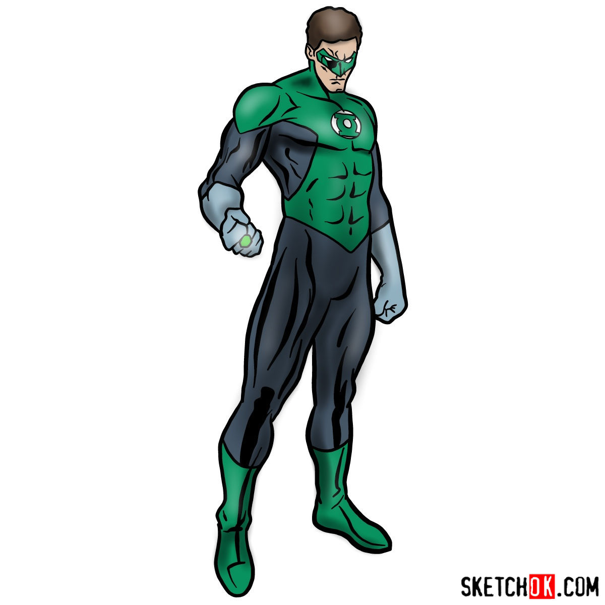 How to draw Hal Jordan as Green Lantern