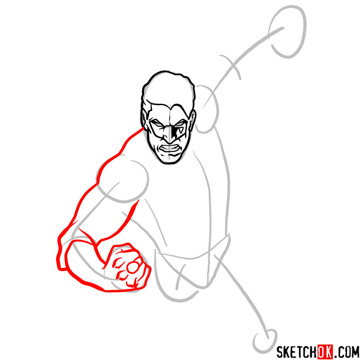 How to draw Green Lantern in flight - step 04