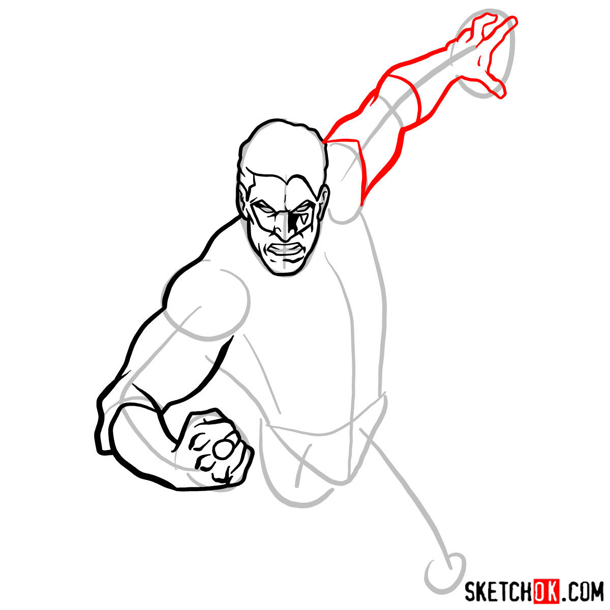 How to draw Green Lantern in flight - step 05