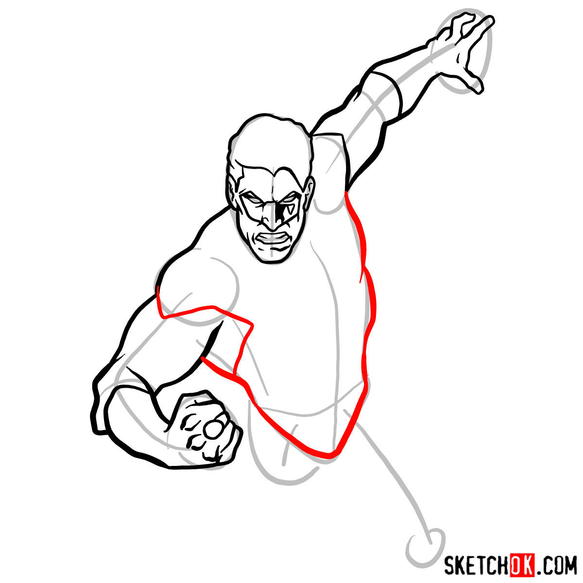 How to draw Green Lantern in flight -  step 06