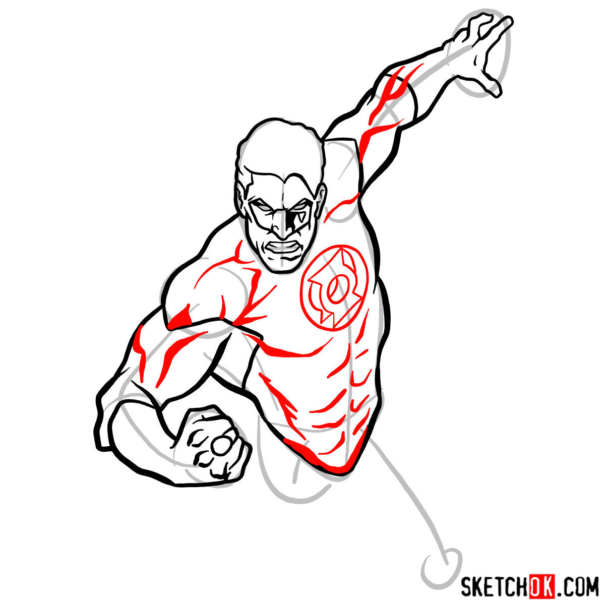 How to draw Green Lantern in flight - step 07