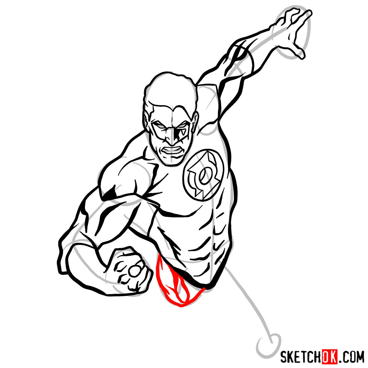 How to draw Green Lantern in flight - step 08