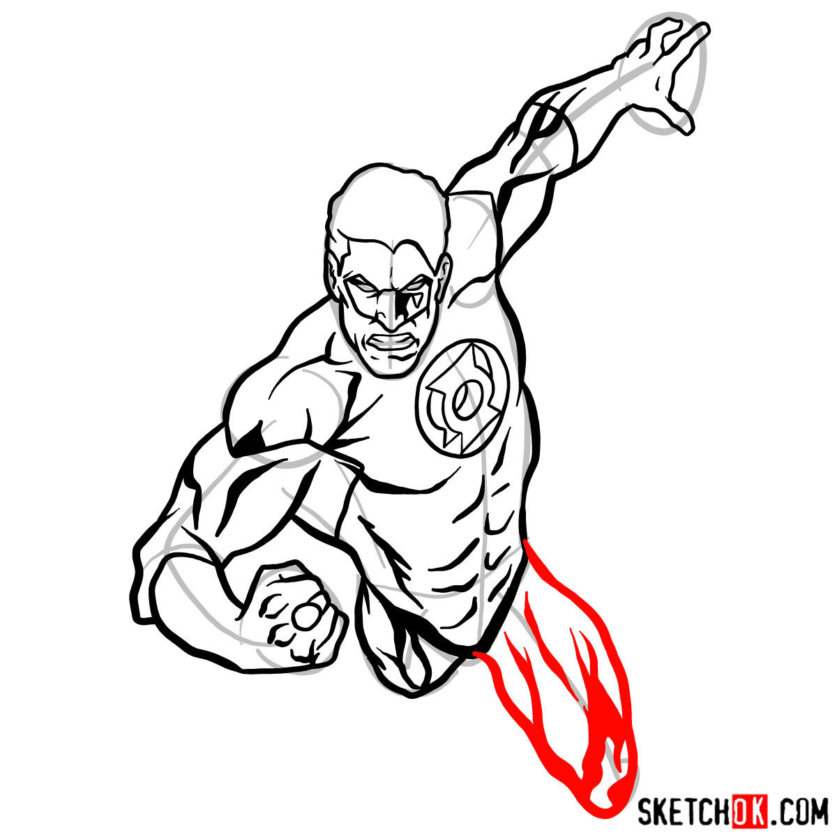 How to draw Green Lantern in flight - step 09