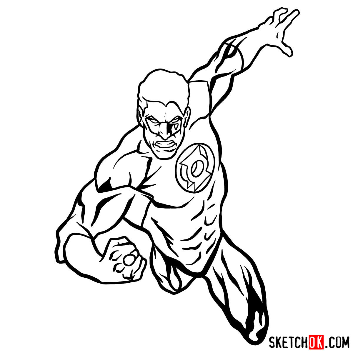 How to draw Green Lantern in flight - step 10