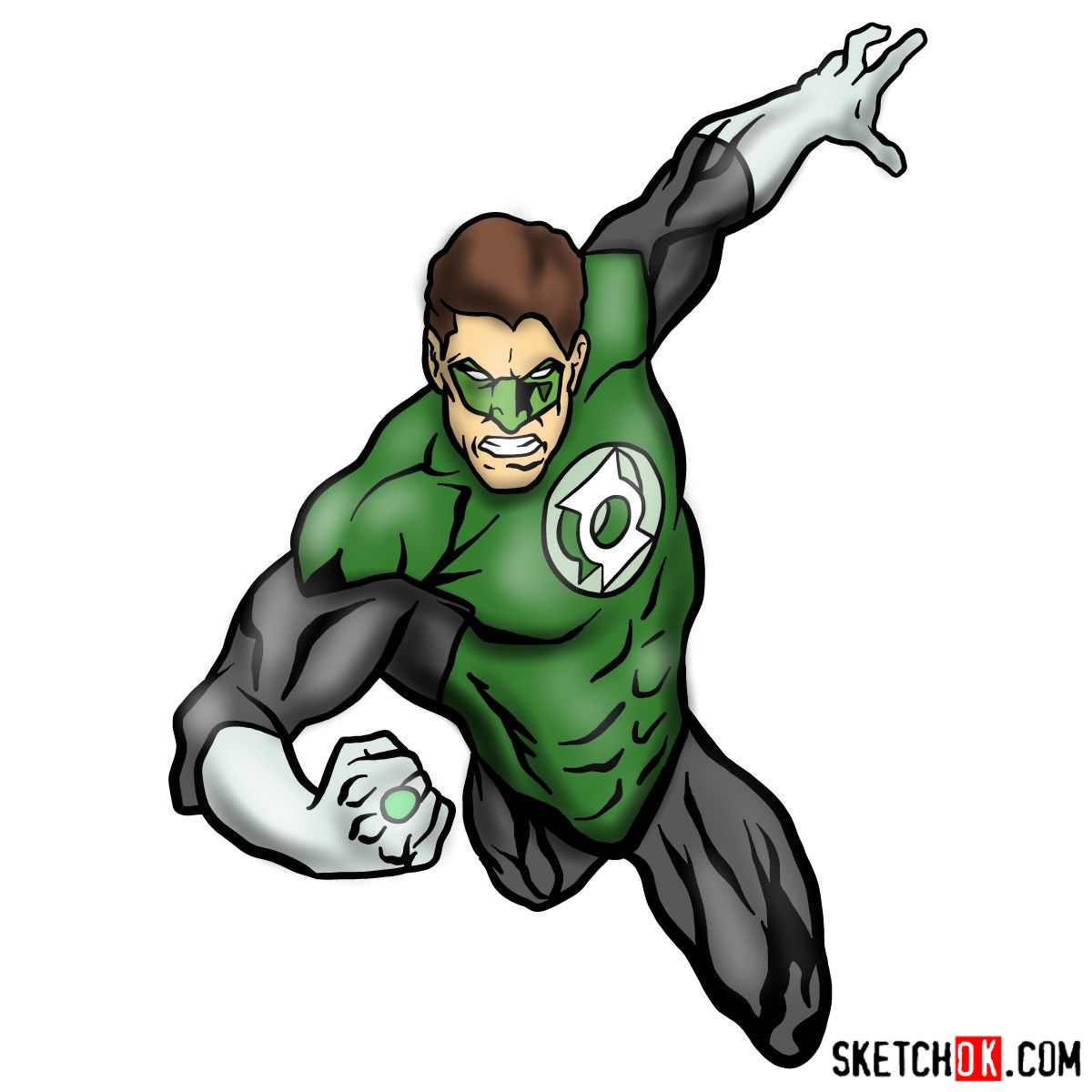 How to draw Green Lantern in flight