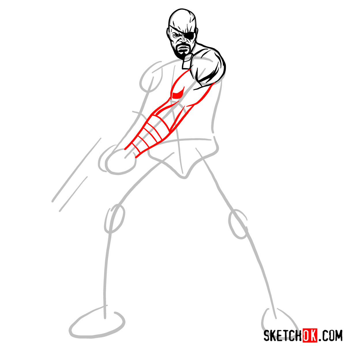 How to draw Nick Fury from the Avengers -  step 06