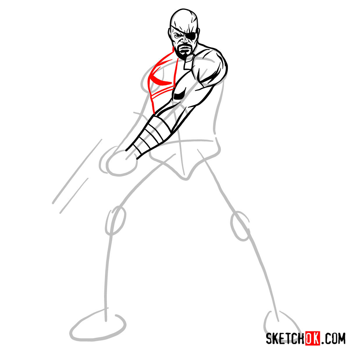 How to draw Nick Fury from the Avengers - step 07