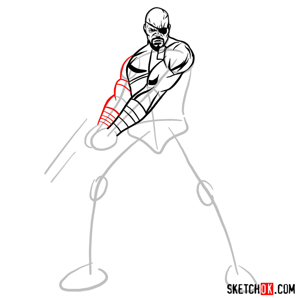 How to draw Nick Fury from the Avengers - step 08