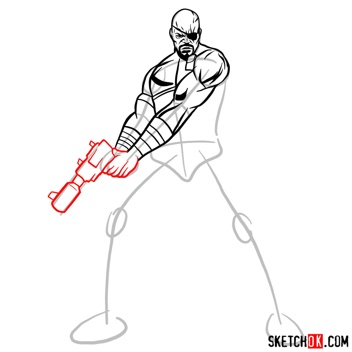How to draw Nick Fury from the Avengers - step 09