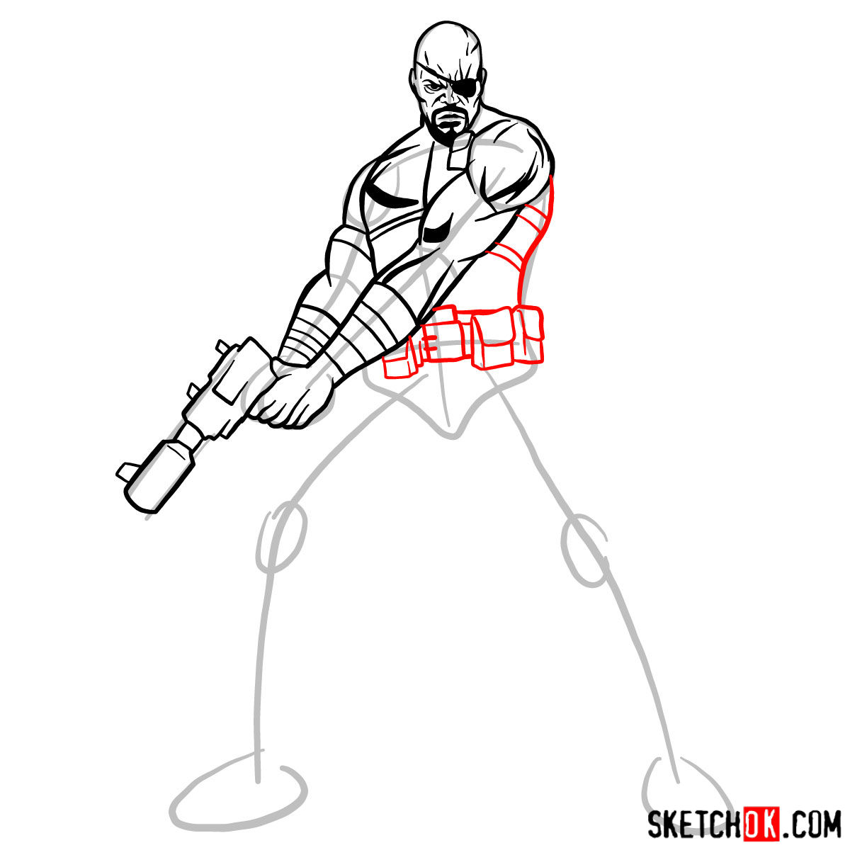 How to draw Nick Fury from the Avengers - step 10