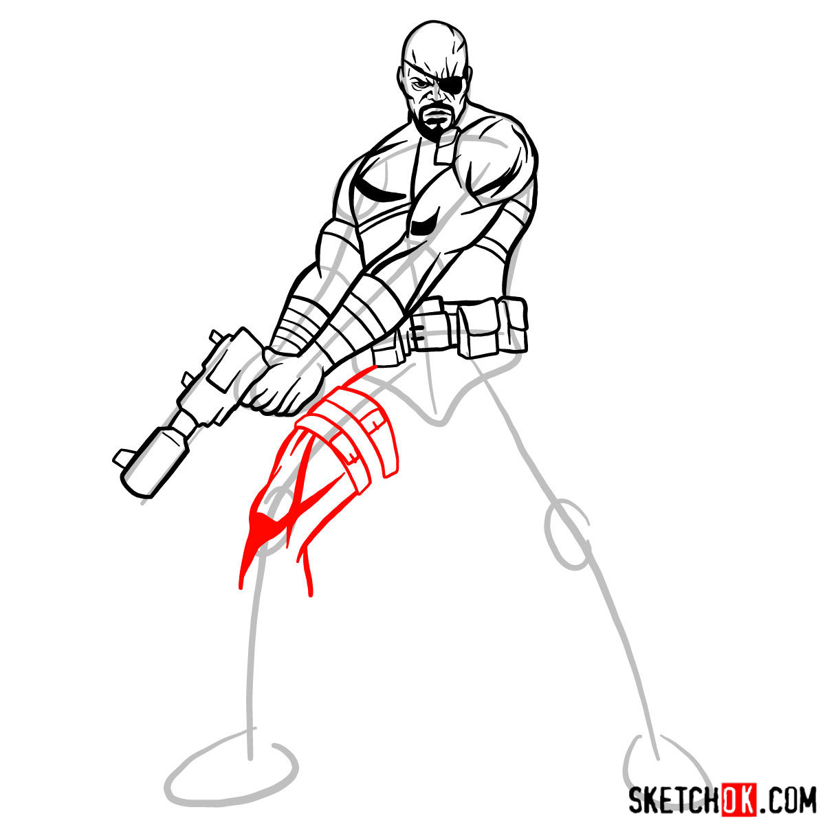 How to draw Nick Fury from the Avengers - step 11