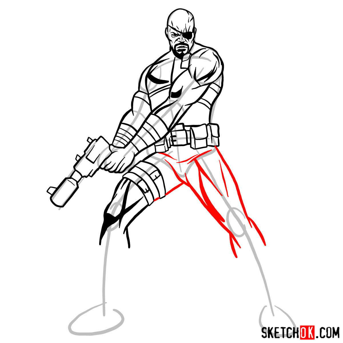 How to draw Nick Fury from the Avengers - step 12