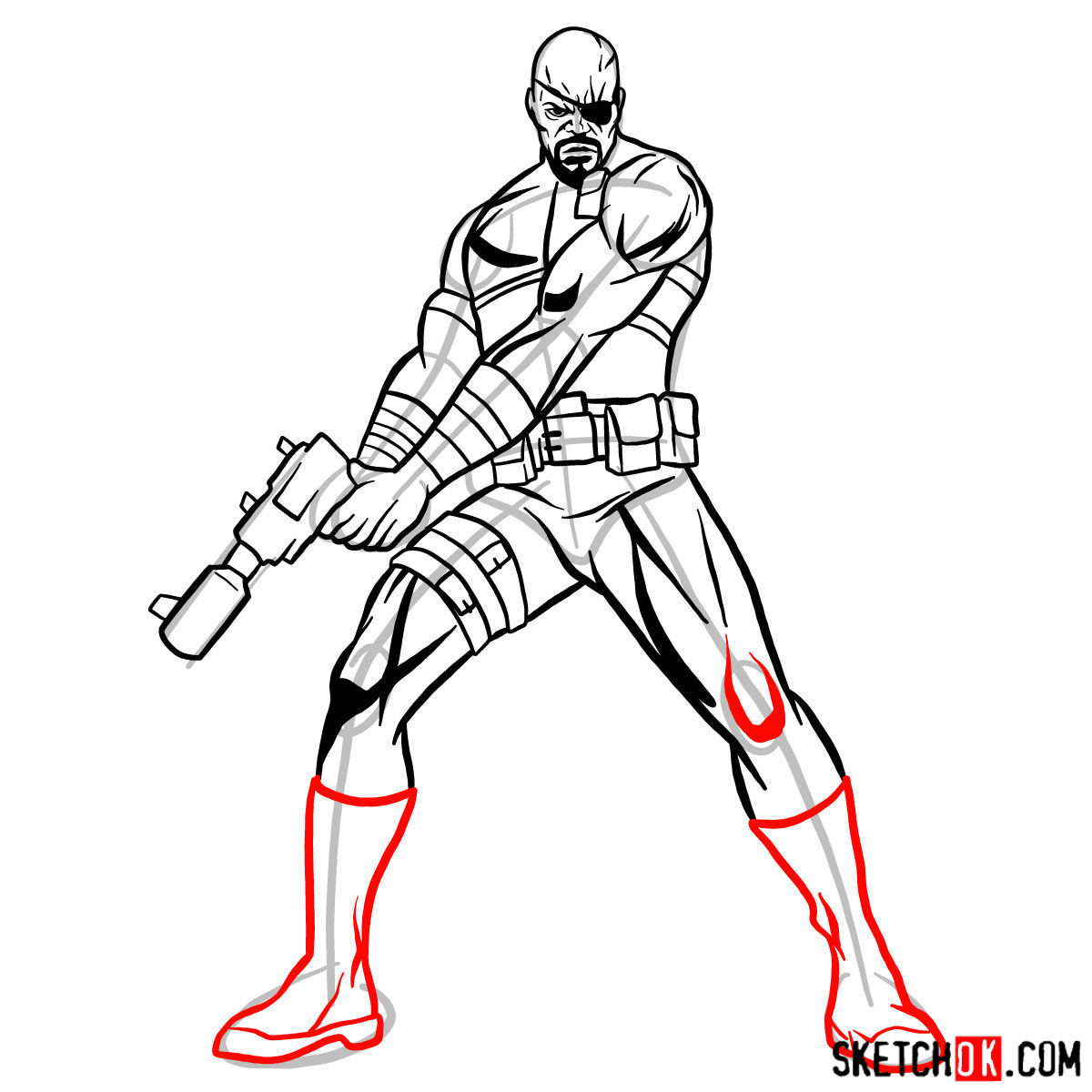 How to draw Nick Fury from the Avengers - step 13
