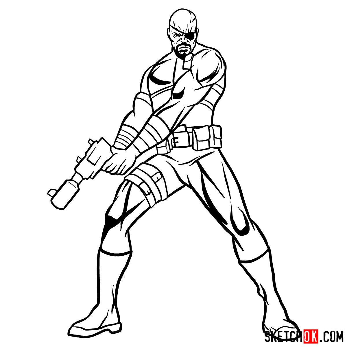 How to draw Nick Fury from the Avengers - step 14