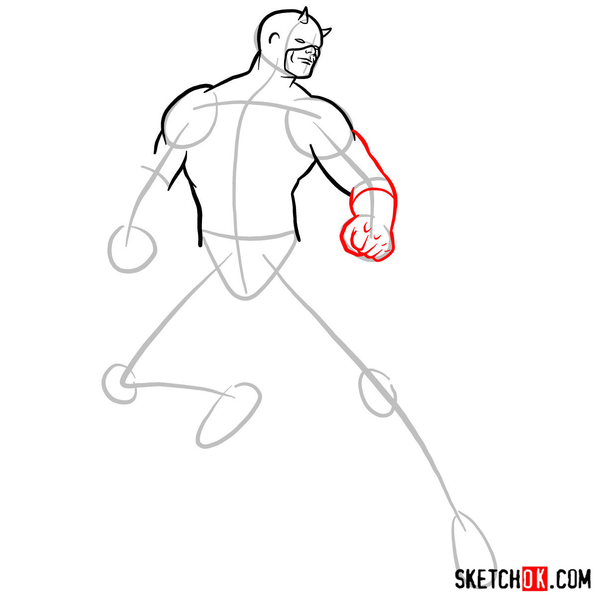 How to draw Daredevil from Marvel - 
