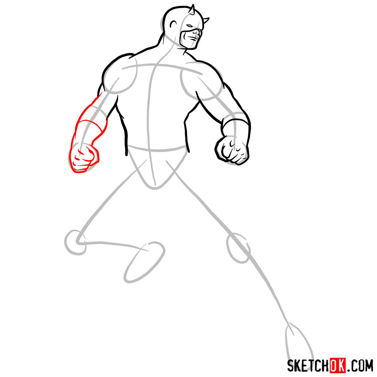 How to draw Daredevil from Marvel - step 07