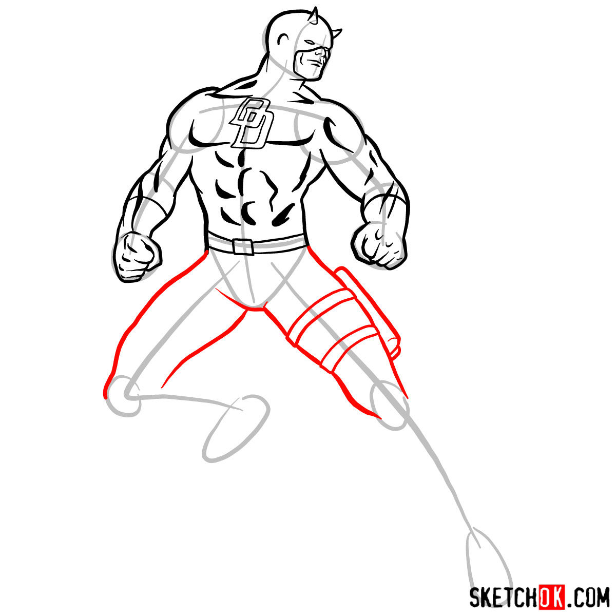 How to draw Daredevil from Marvel - step 10