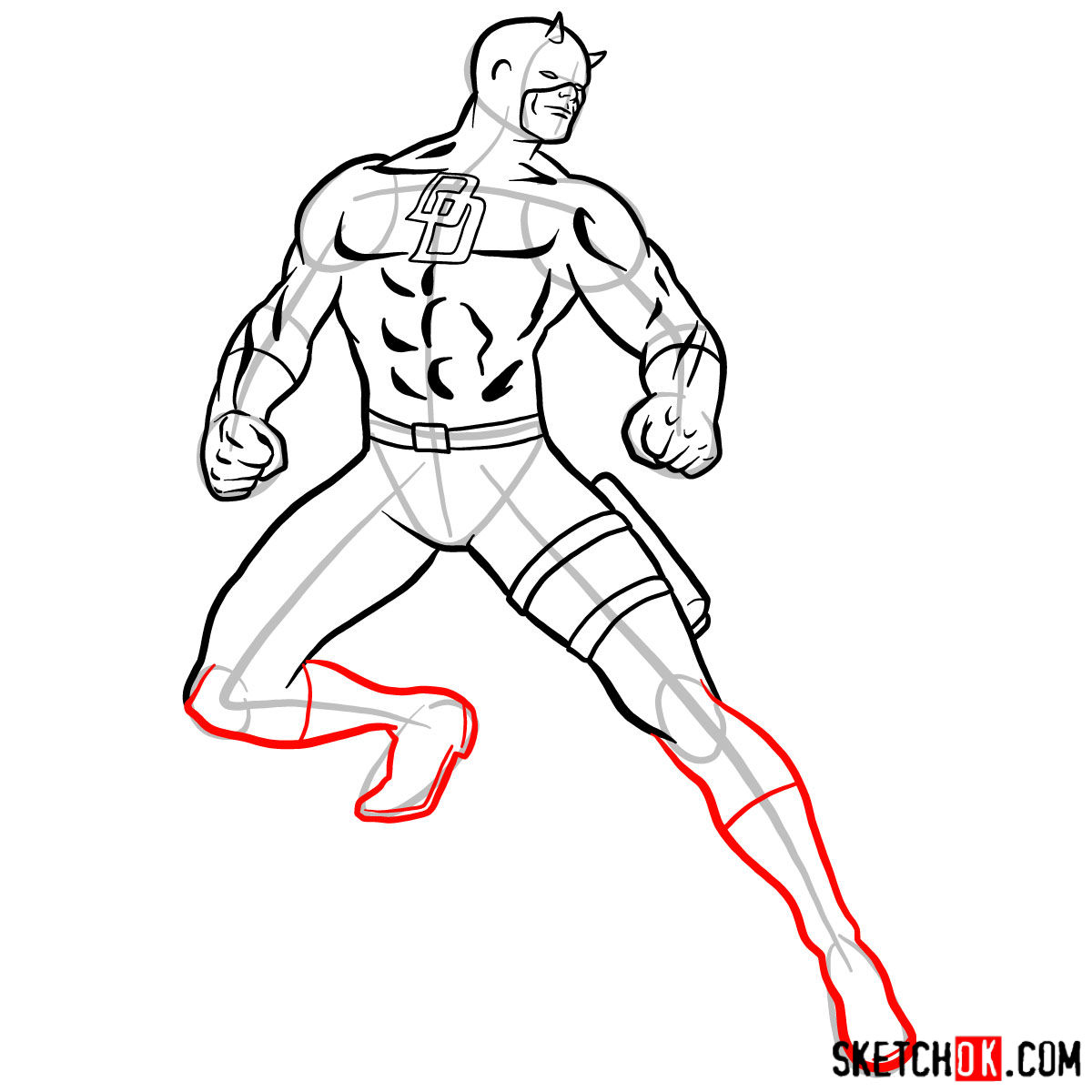 How to draw Daredevil from Marvel - step 11