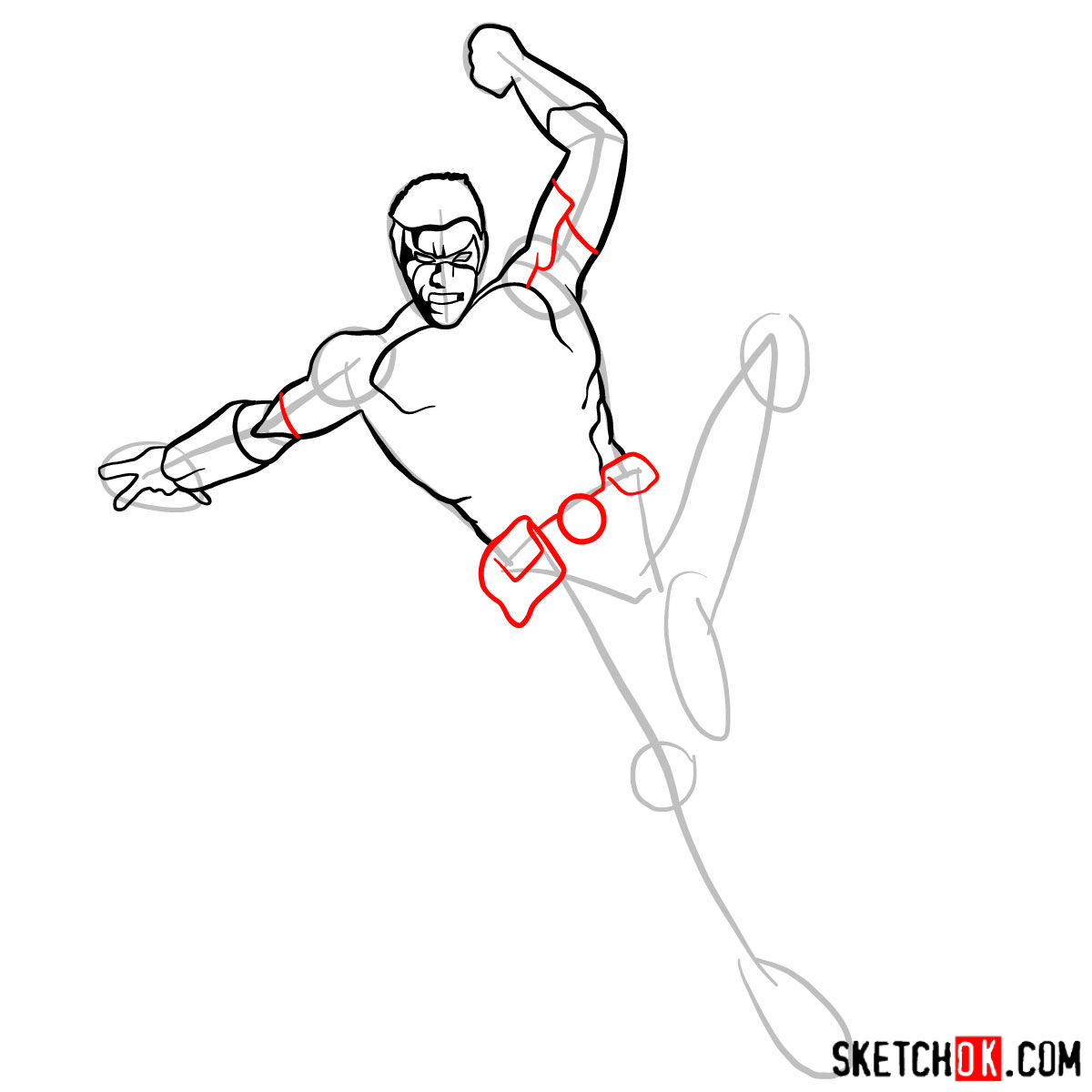 How to draw Tim Drake (Red Robin) from DC Comics - step 08