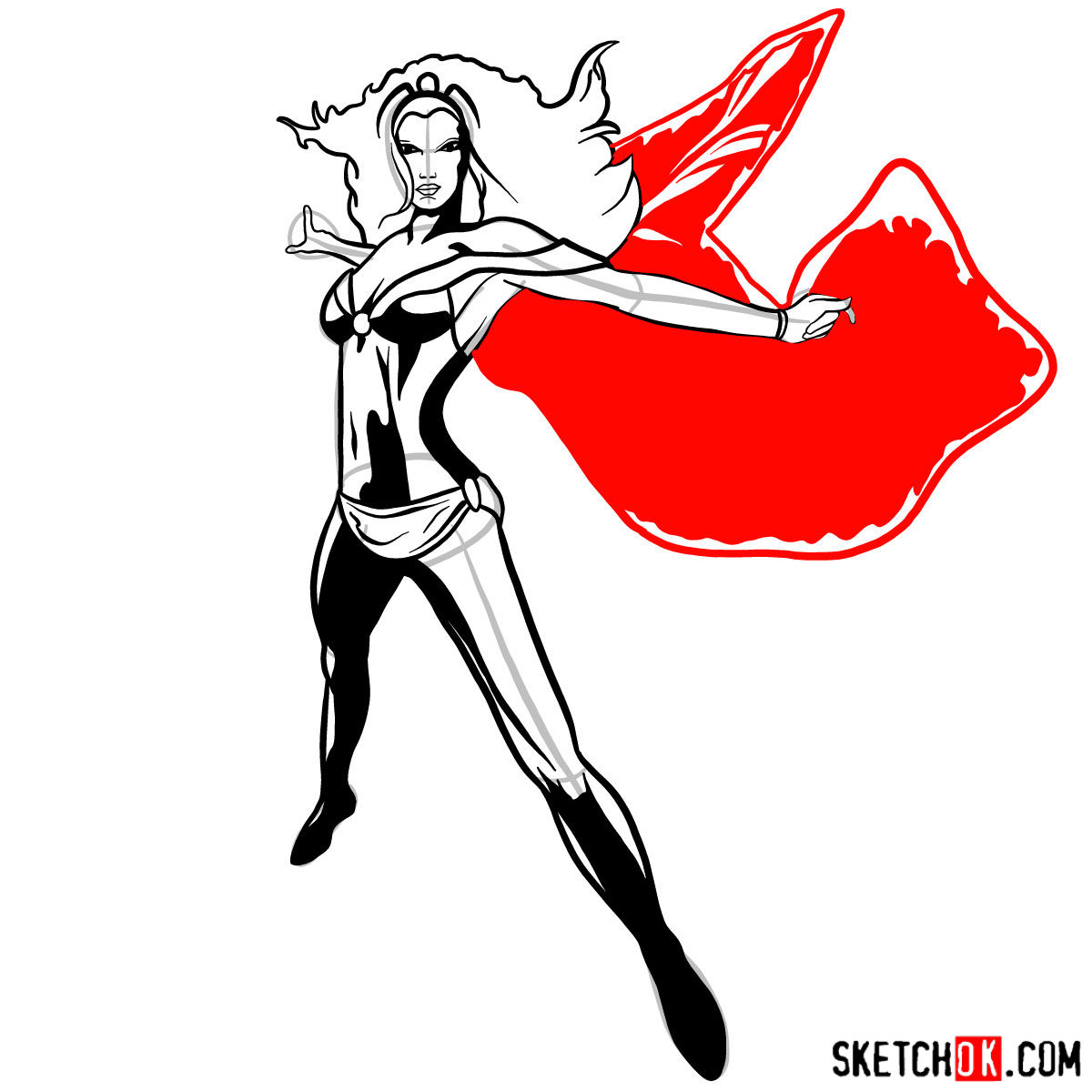 How to draw Storm from X-Men - step 14