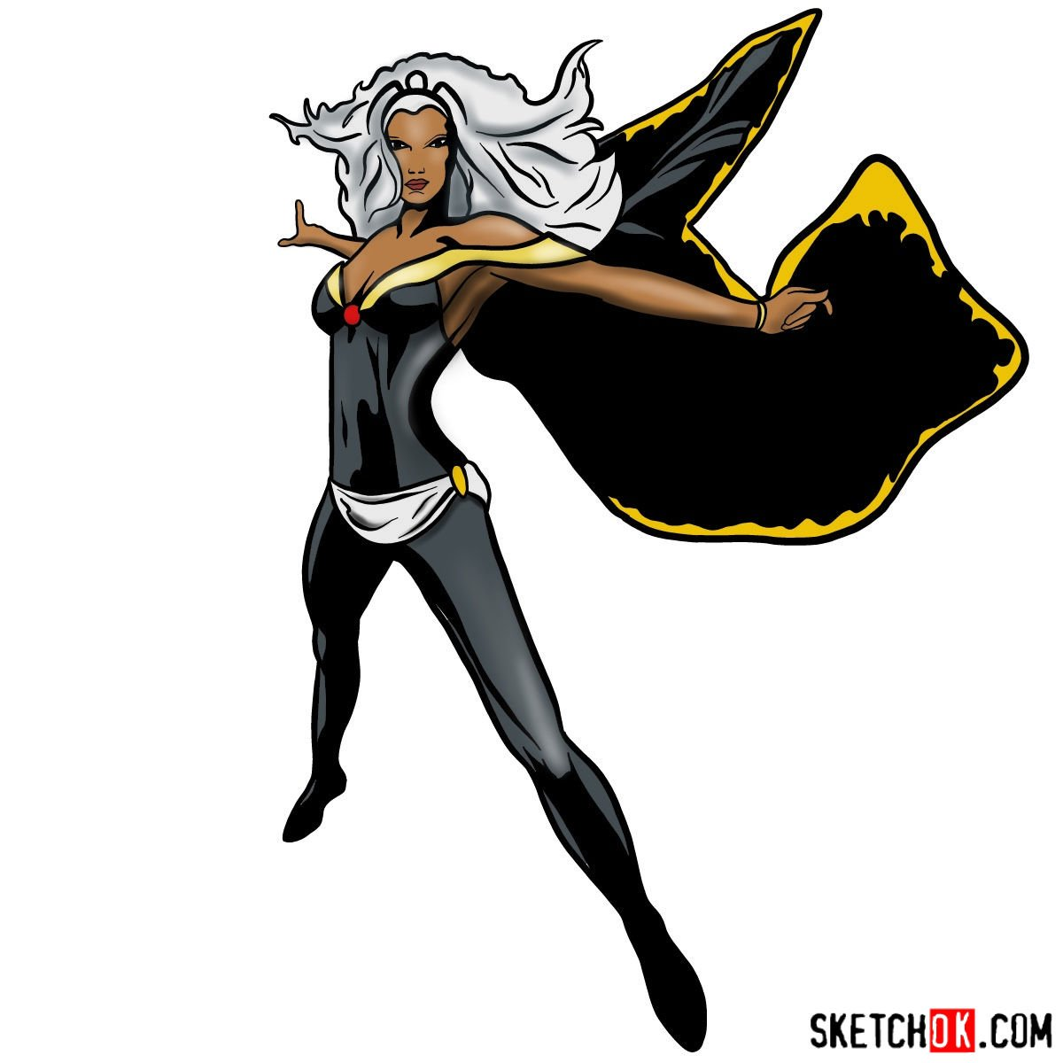 How to draw Storm from X-Men - coloring
