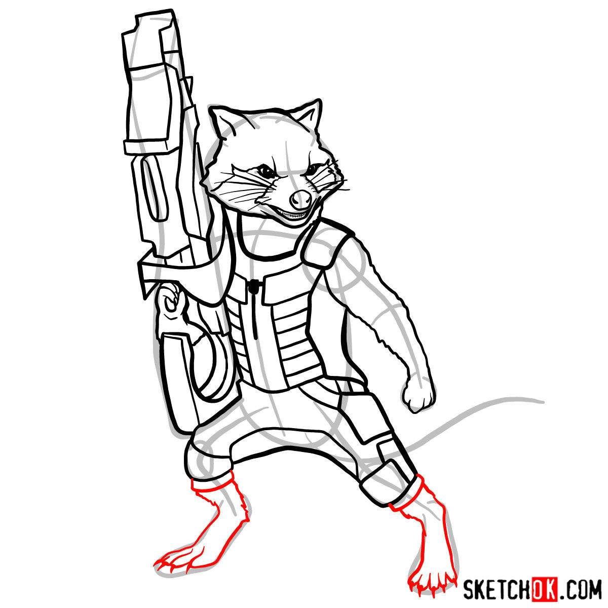 How to draw Rocket Raccoon - step 12