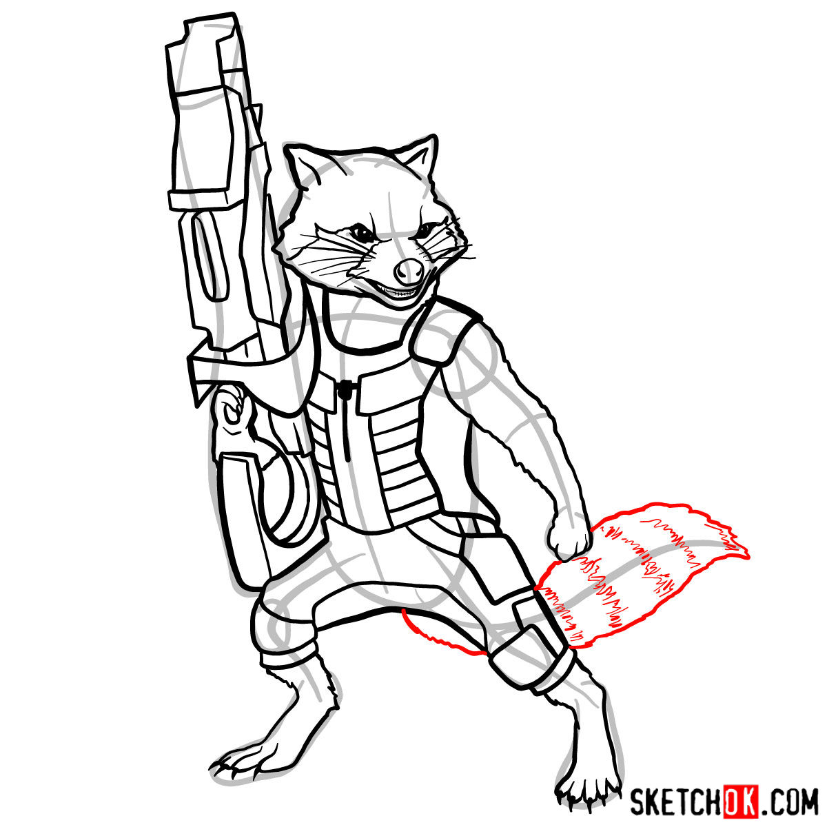 How to draw Rocket Raccoon - step 13
