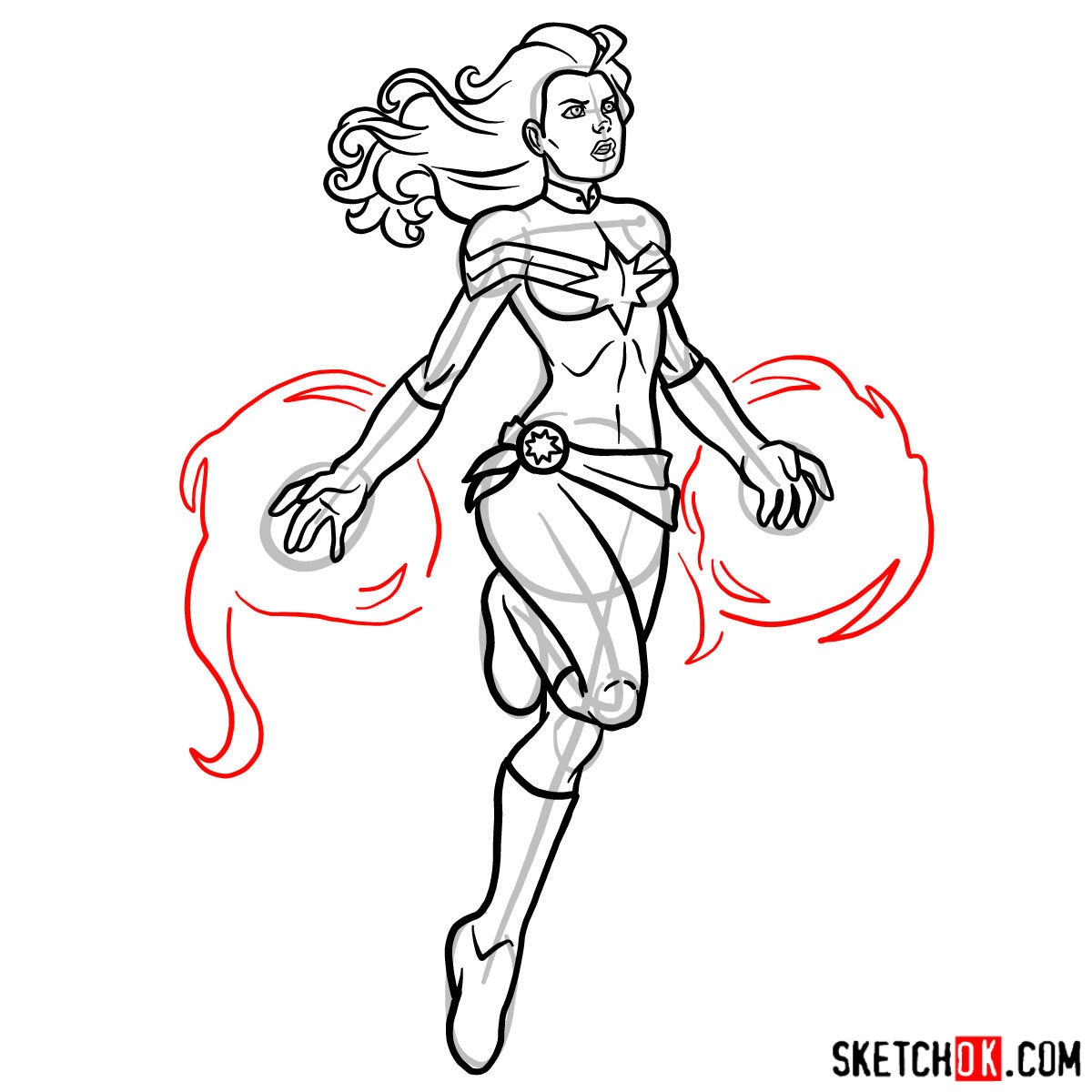 How to draw Captain Marvel (Carol Danvers) - step 14