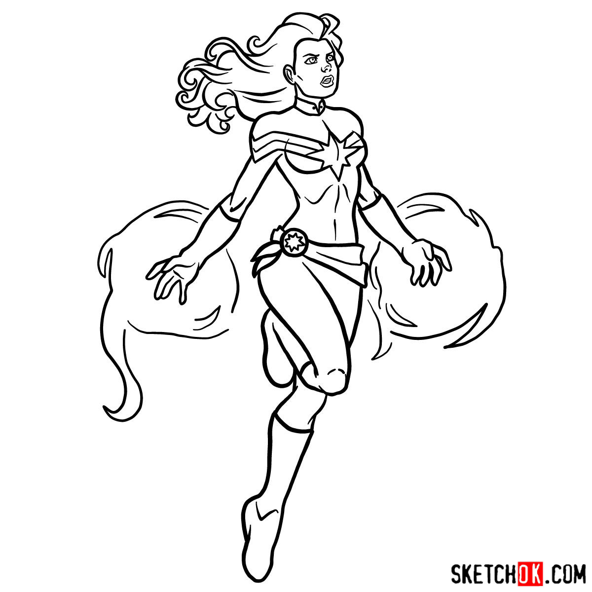 How to draw Captain Marvel (Carol Danvers) - step 15