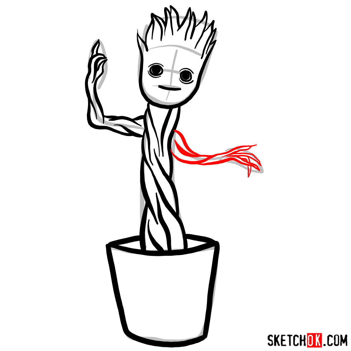 Baby Groot in a pot - step by step drawing tutorial - step 08