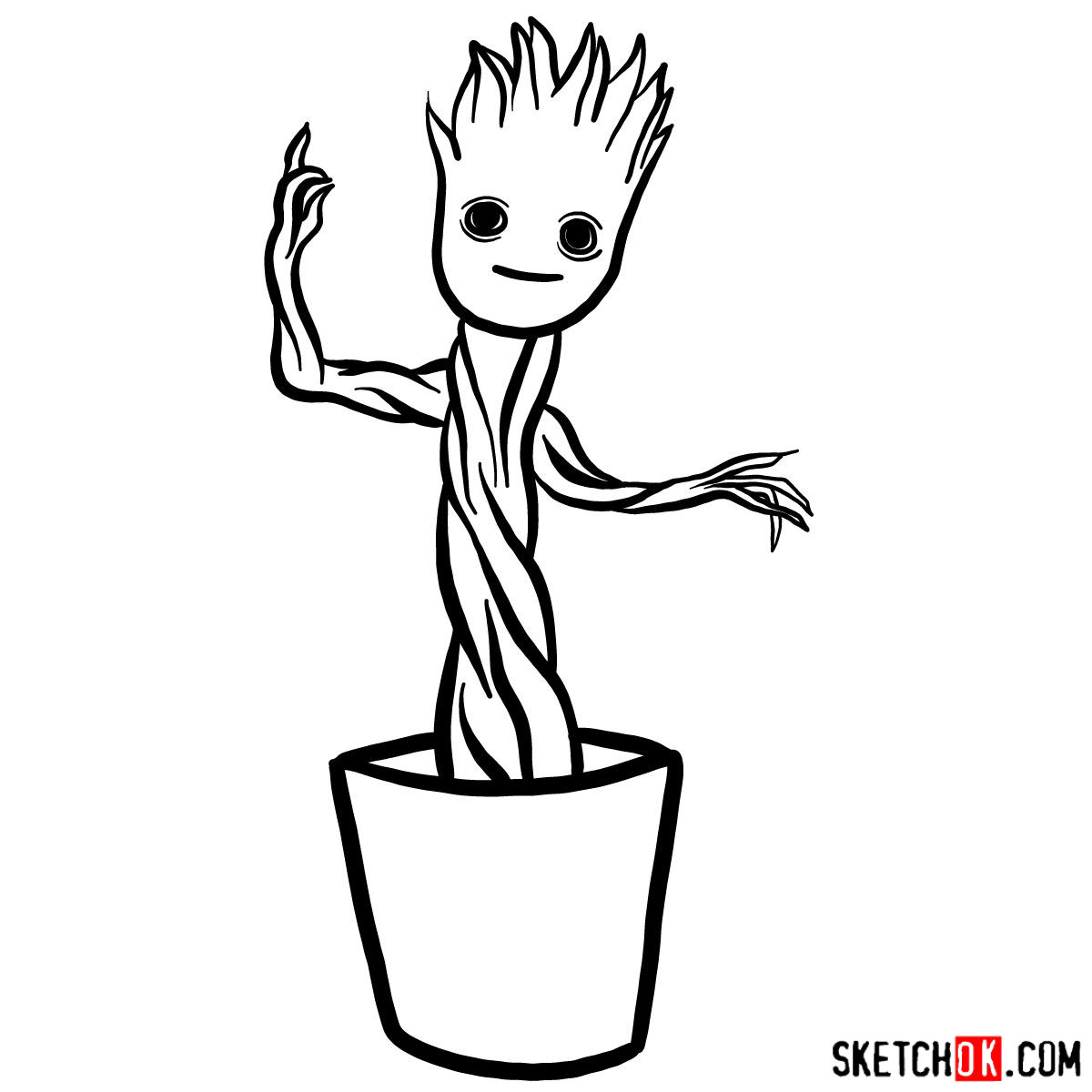 How To Draw Baby Groot In A Pot Step By Step Drawing Tutorials