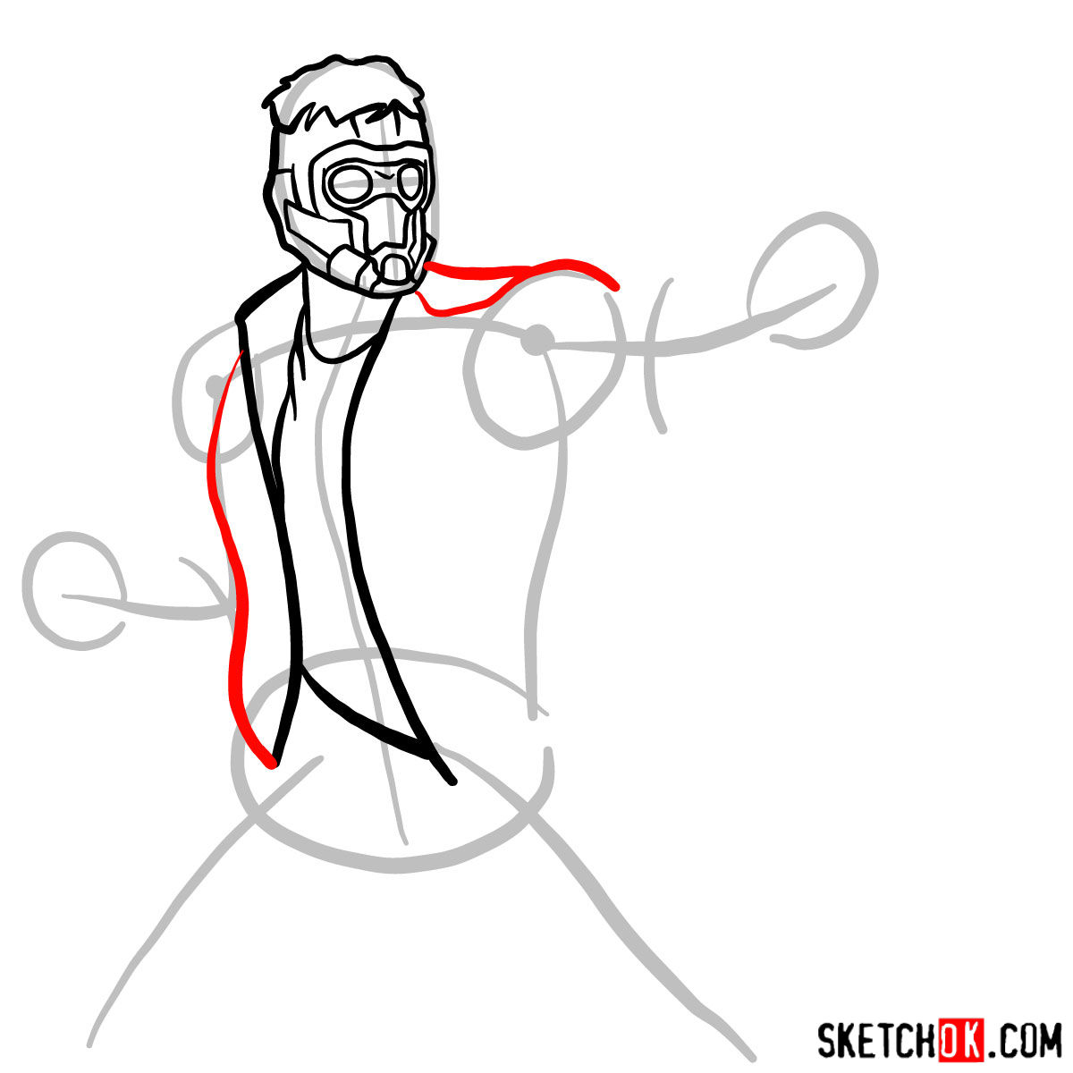 How to draw Star-Lord from Guardians of the Galaxy - step 06