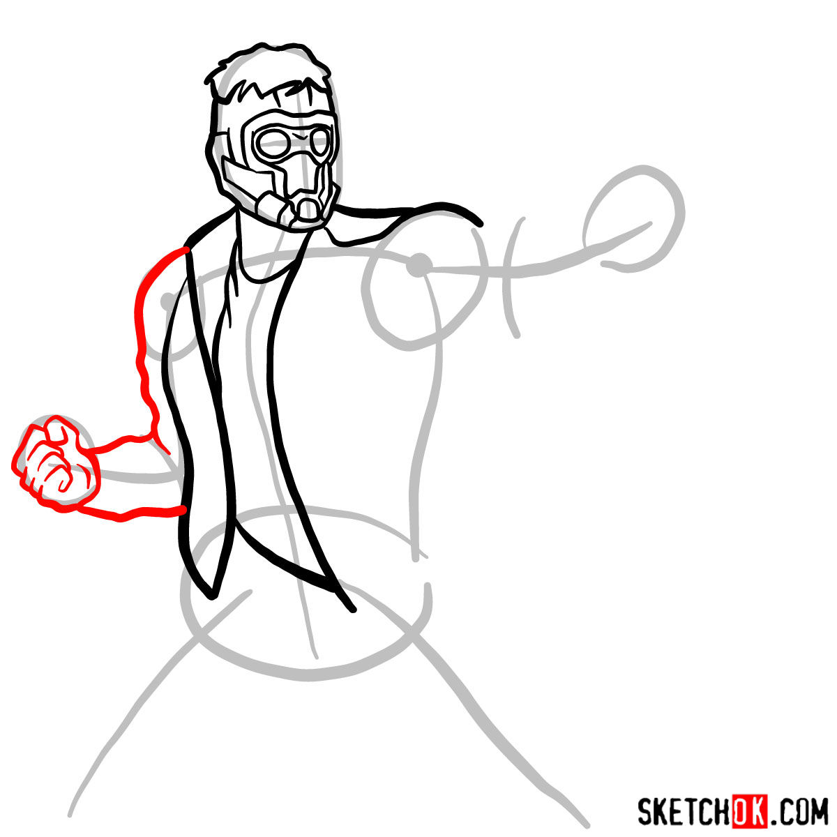 How to draw Star-Lord from Guardians of the Galaxy - step 07