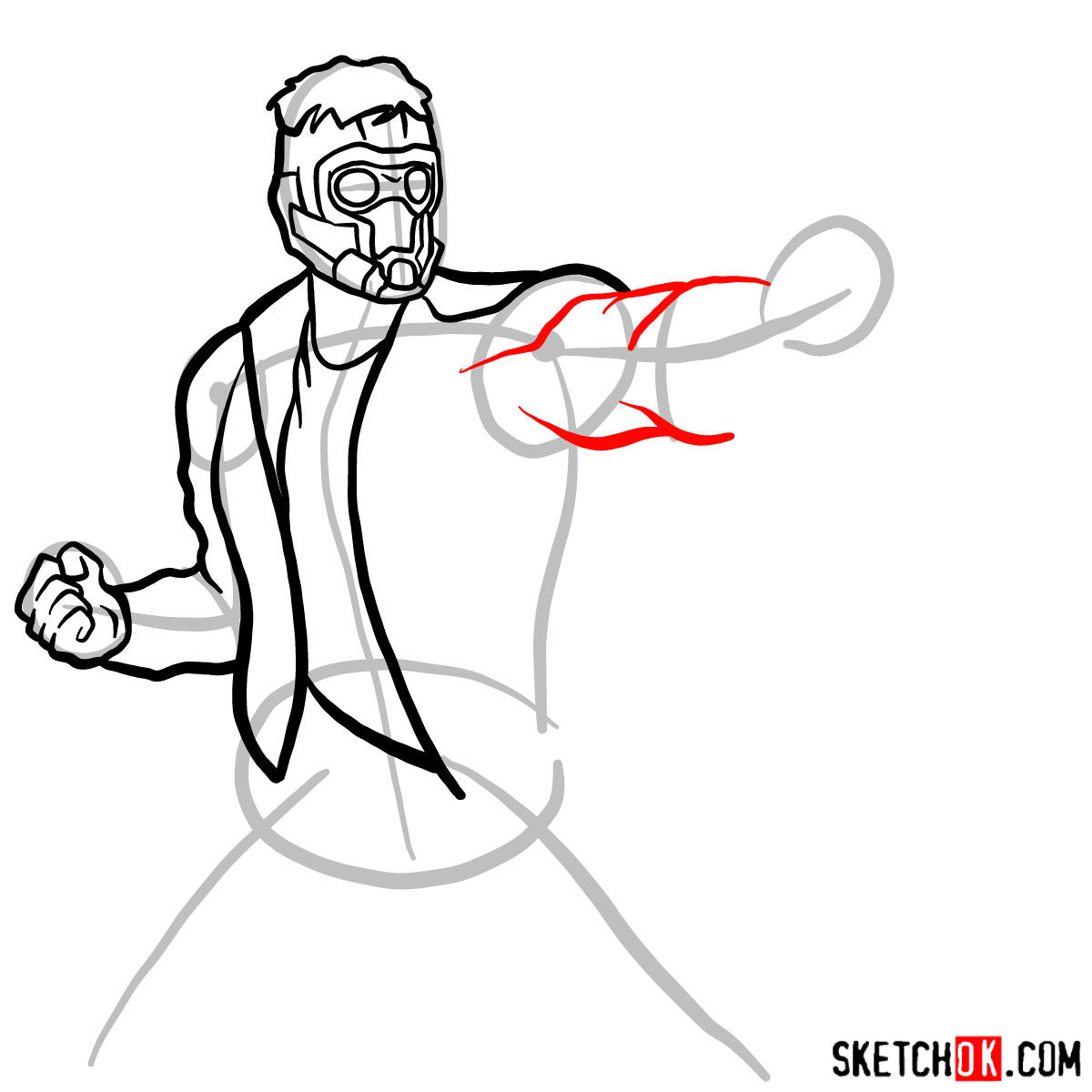 How to draw Star-Lord from Guardians of the Galaxy - step 08