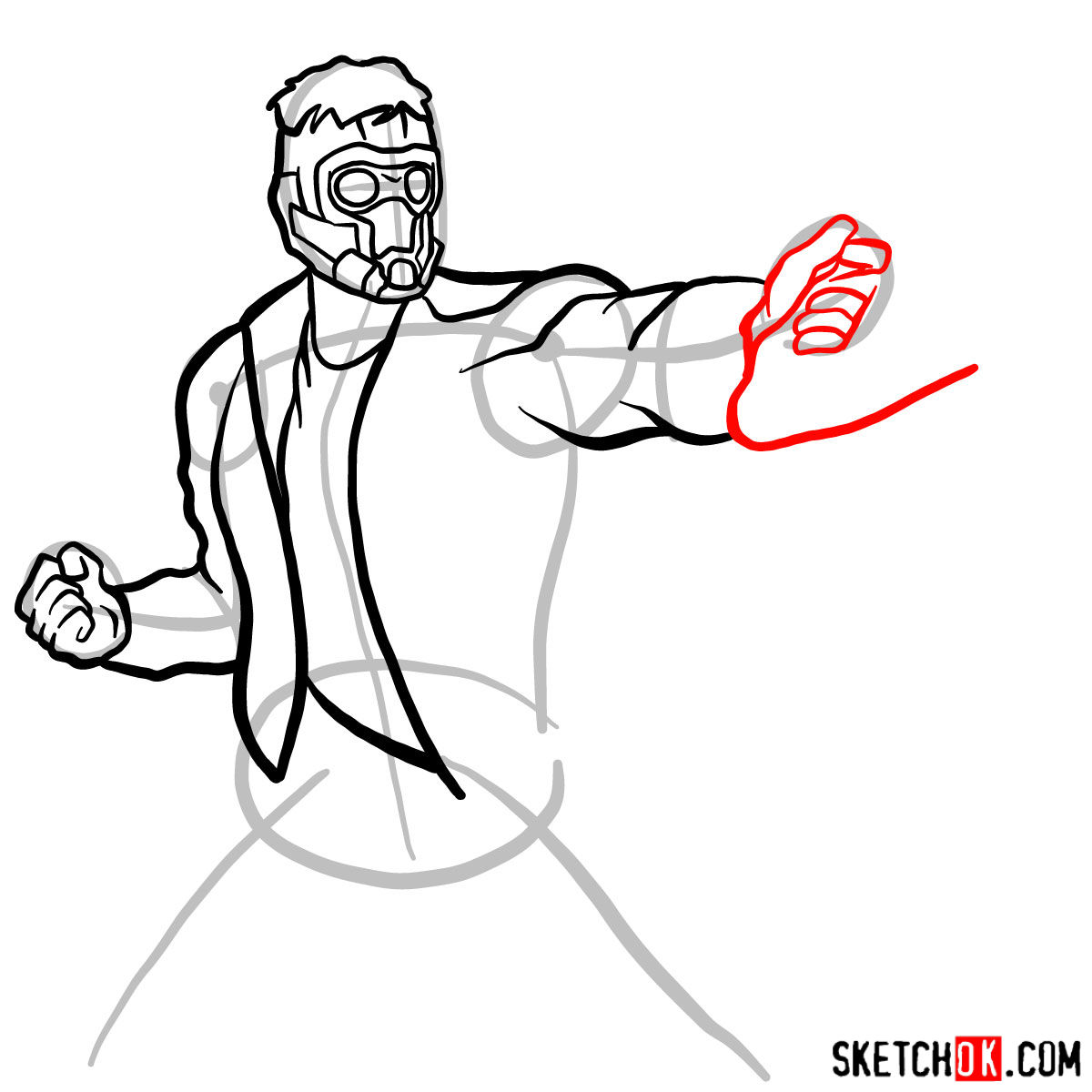 How to draw Star-Lord from Guardians of the Galaxy - step 09