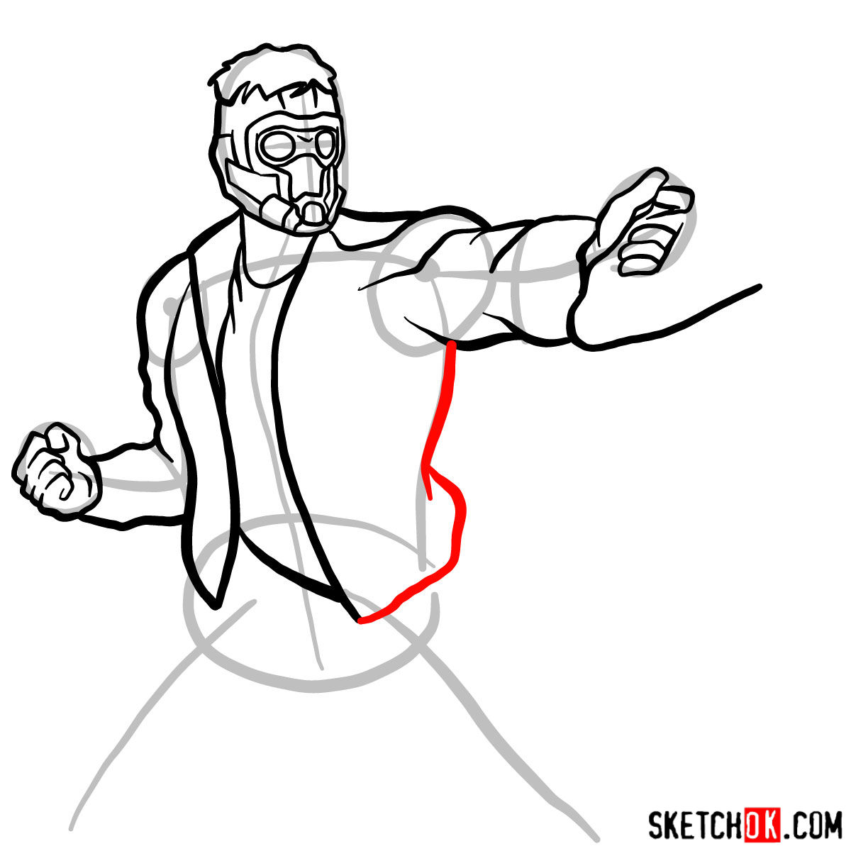 How to draw Star-Lord from Guardians of the Galaxy - step 10