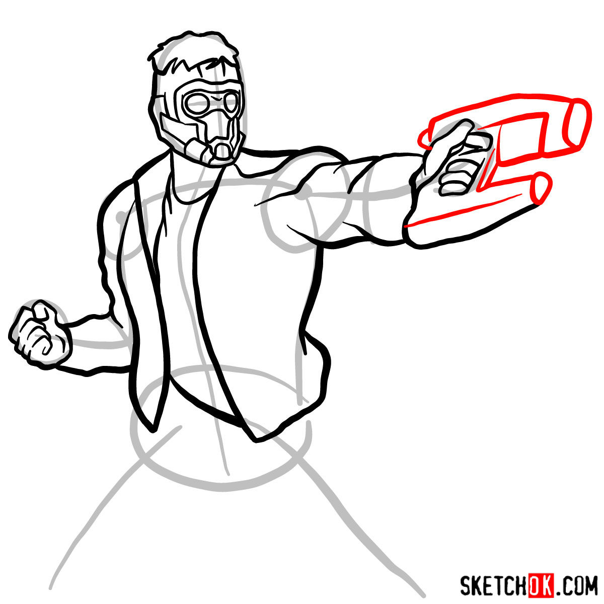 How to draw Star-Lord from Guardians of the Galaxy - step 11