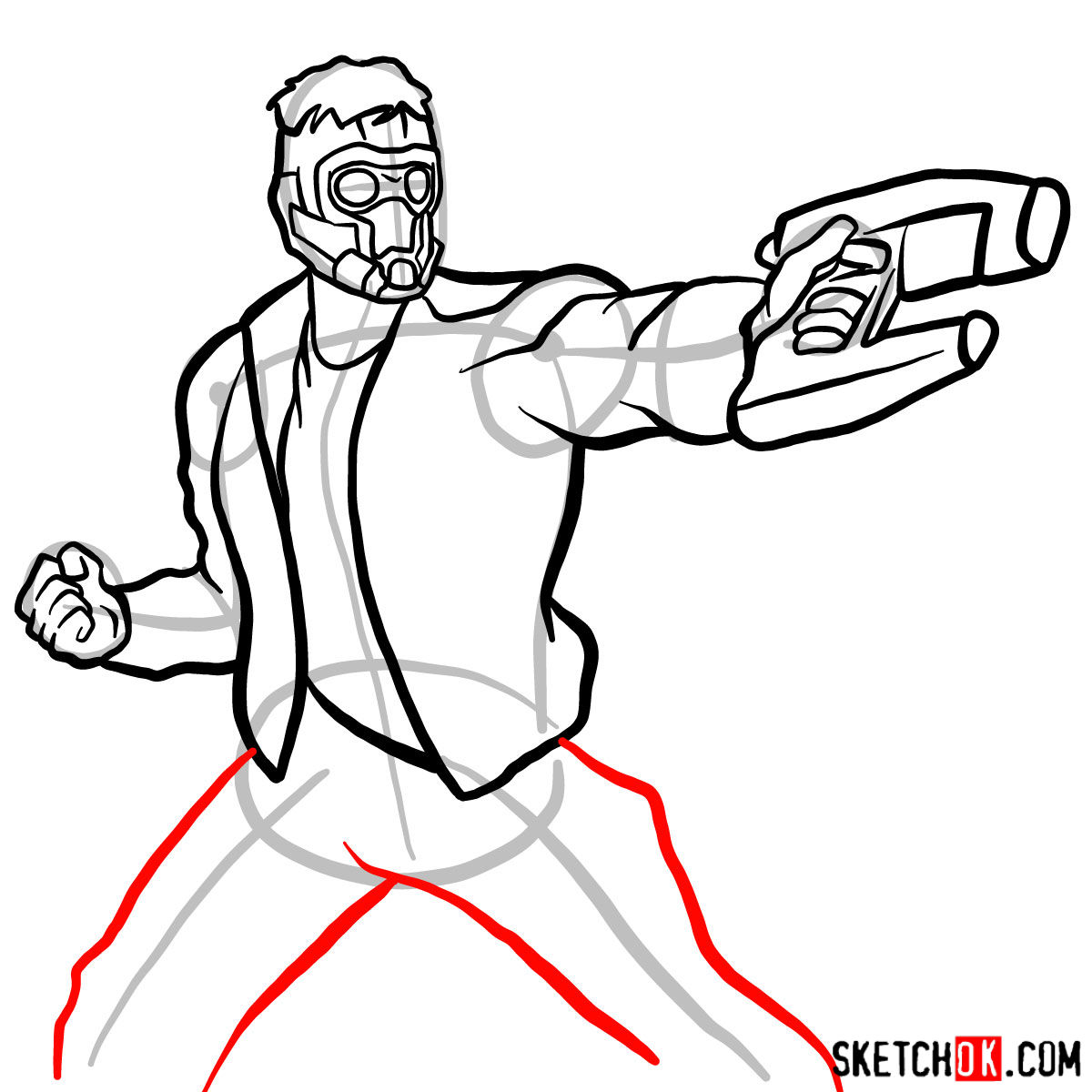 How to draw Star-Lord from Guardians of the Galaxy - step 12