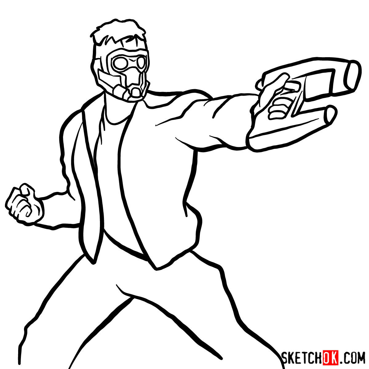How to draw Star-Lord from Guardians of the Galaxy - step 13