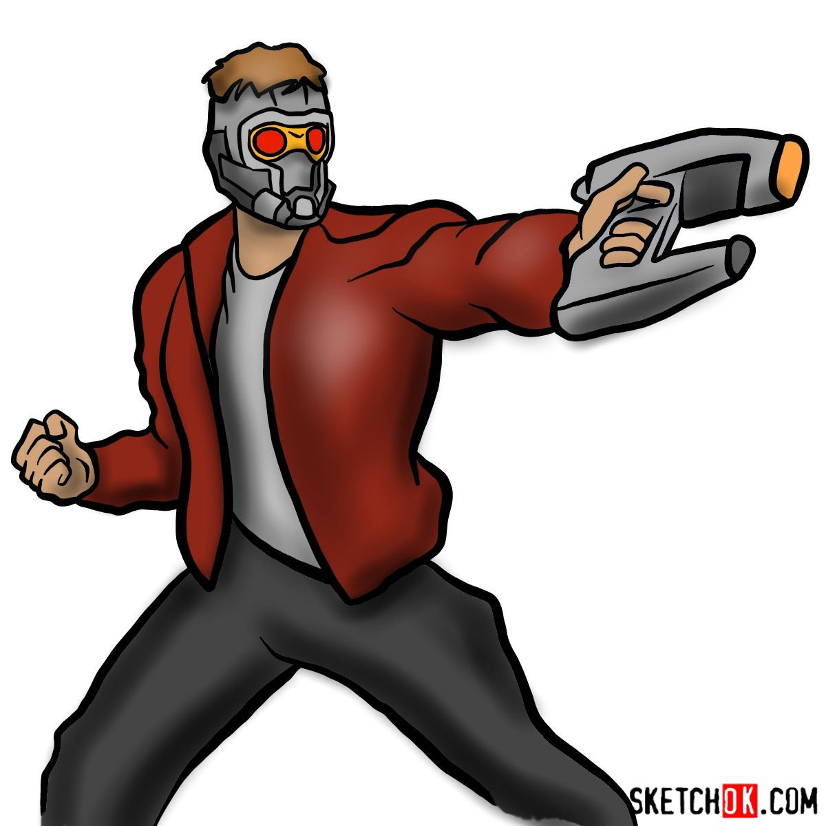 How to draw Star-Lord from Guardians of the Galaxy - coloring