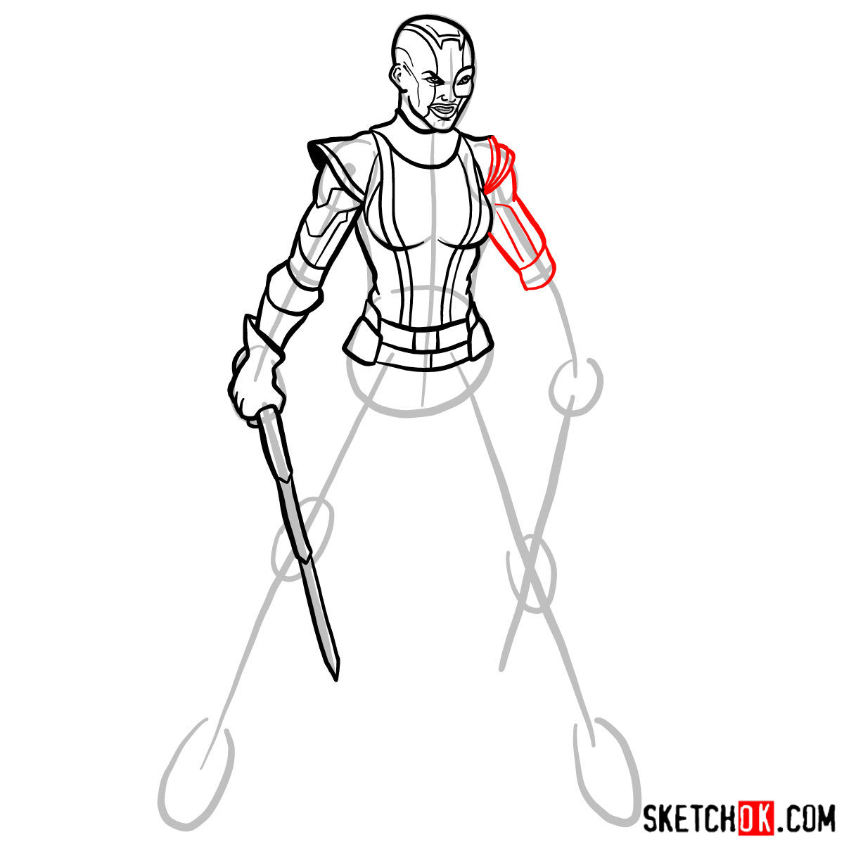 How to draw Nebula from Guardians of the Galaxy - step 11