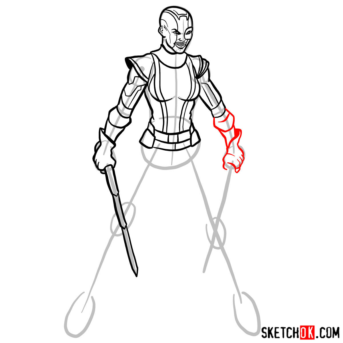 How to draw Nebula from Guardians of the Galaxy - step 12