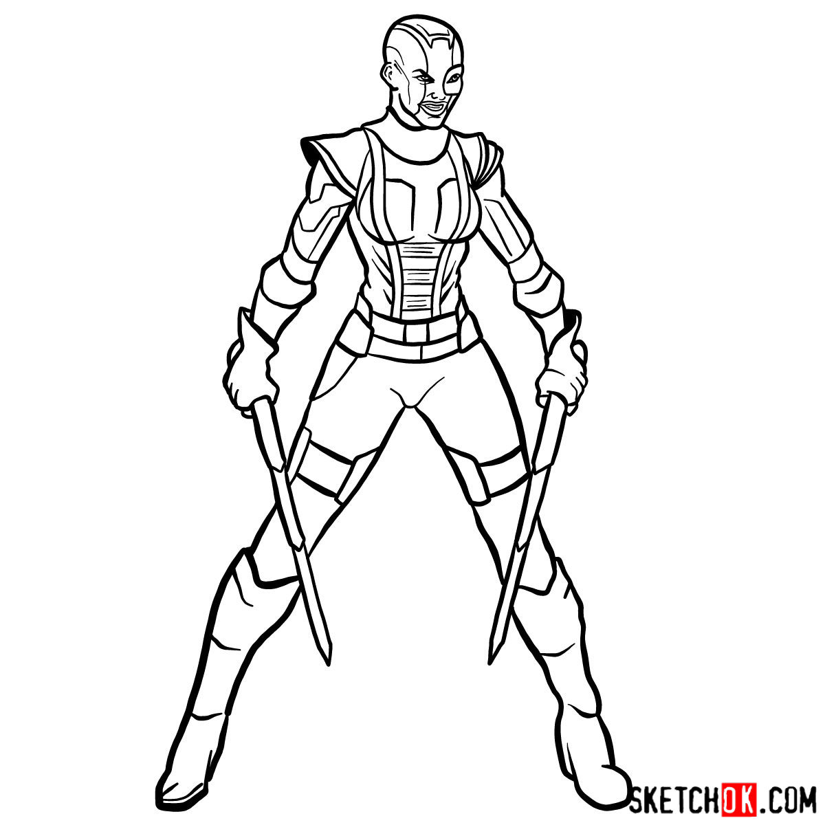 How to draw Nebula from Guardians of the Galaxy - step 17