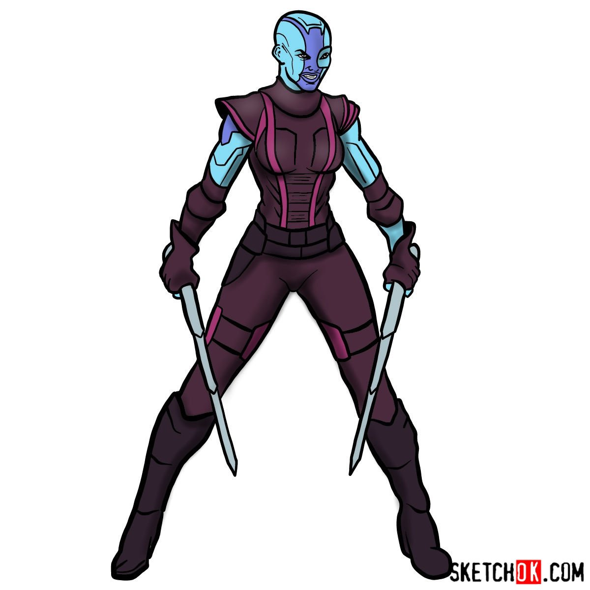 How to draw Nebula from Guardians of the Galaxy - coloring