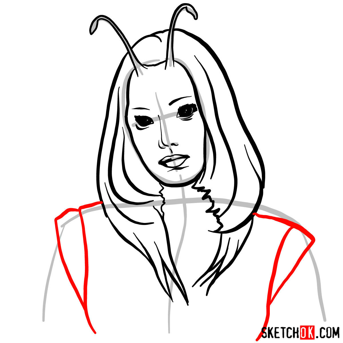 How to draw Mantis from Guardians of the Galaxy 2 film - step 07
