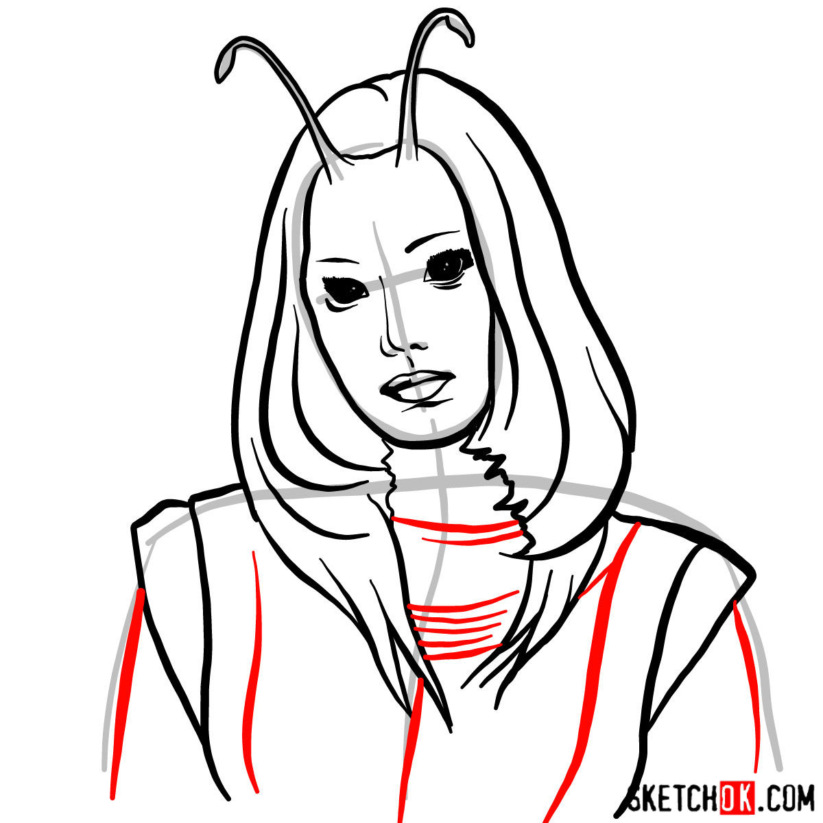 How to draw Mantis from Guardians of the Galaxy 2 film - step 08