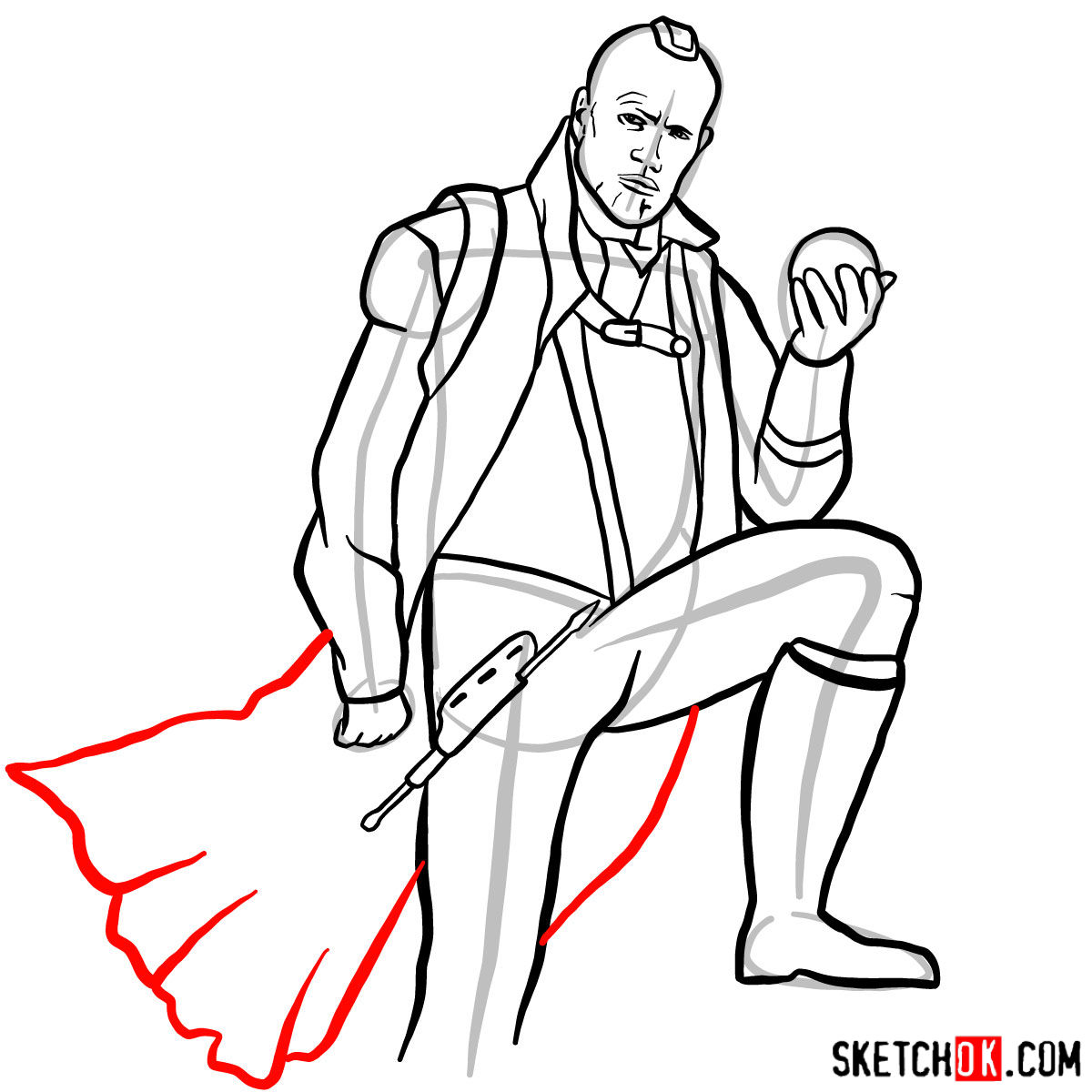 How to draw Yondu Udonta from Guardians of the Galaxy - step 13