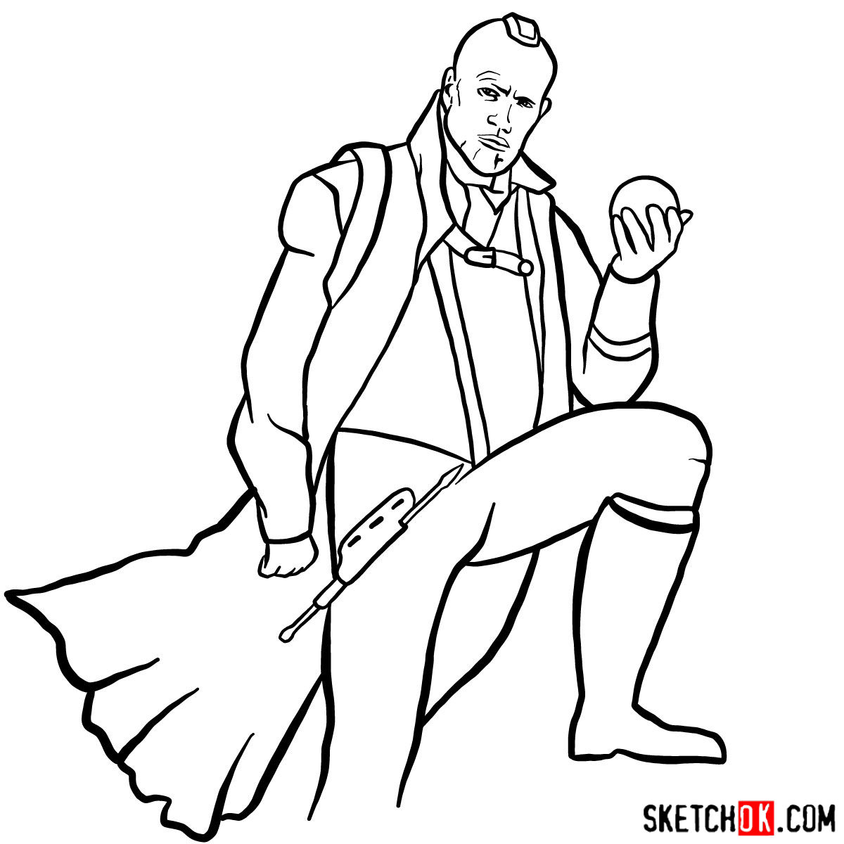 How to draw Yondu Udonta from Guardians of the Galaxy - step 14
